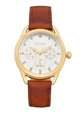 Citizen Eco-Drive LTR Women's Crystals Brown Leather Strap 38mm Watch FD2052-07A