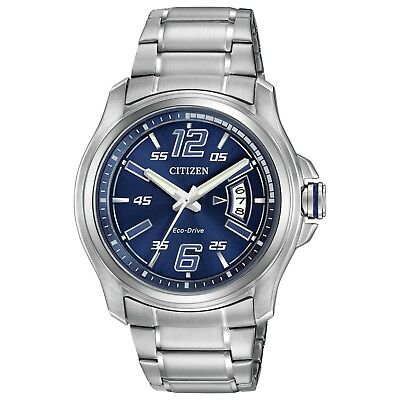 Citizen Eco-Drive Men's HTM Blue Date Dial Silver-Tone 43mm Watch AW1350-83M