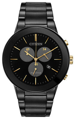 Citizen Eco-Drive Men's Axiom Chronograph Rose Gold Accent 43mm Watch AT2248-59E