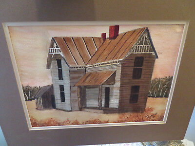1986 Vintage Watercolor Painting Wood Cabin In The Wilderness Signed Runkle