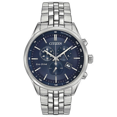 Citizen Eco-Drive Men's Chronograph Blue Dial Silver Tone 42mm Watch AT2141-52L