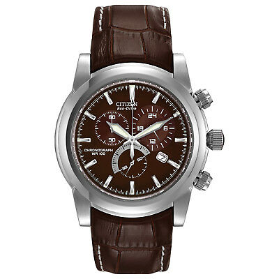 Citizen Eco-Drive Men's Chandler Chronograph Brown Leather 42mm Watch AT0550-11X