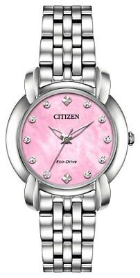 Citizen Eco-Drive Jolie Ladies Pink Dial Silver-Tone 30mm Watch EM0710-54Y