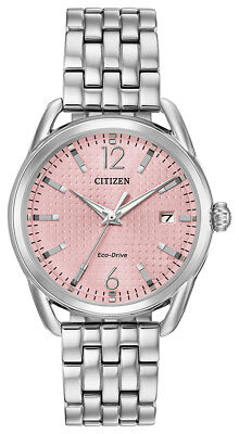 Citizen Women's Eco-Drive LTR Pink Dial Silver-Tone Band 36mm Watch FE6080-71X