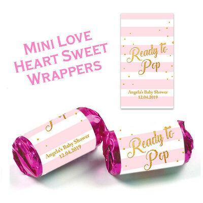 Personalised Baby Shower Mini Love Heart Stickers Wrappers Party Favours Girl