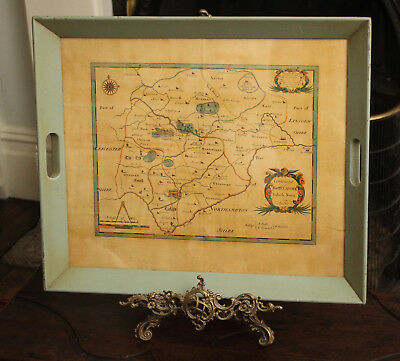 A Drinks Tray with c18th Robert Morden Rutland Map, Inset & Glazed