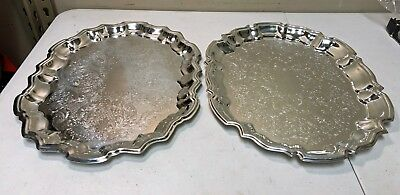Pair of Vintage Silverplate Oval Serving Trays (F B Rogers & Leonard) 14.5 x 11