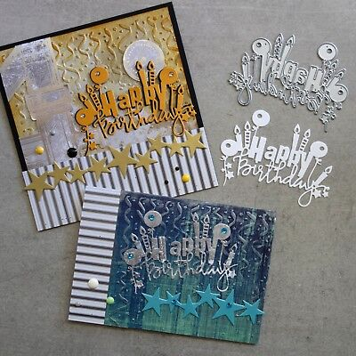 Shopaperartz HAPPY BIRTHDAY CANDLES BALLOONS STARS SENTIMENT CUTTING DIE CARDS