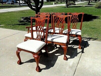 Vintage Chippendale Style Ball & Claw Feet Dining Chairs (SET OF 6)