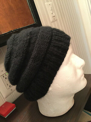 61c2ca24d5bd7 Black Hand Knitted Hat Winter Beanie Cap reclaimed cashmere Size Large  unisex