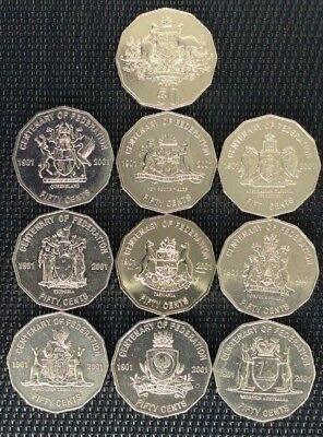 2001 Fifty Cent 50c Centenary of Federation coins - circulated set x 10