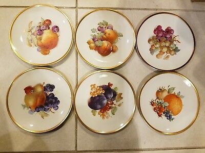 "6 SCHUMANN ARZBERG BAVARIA GERMANY FRUIT MOTIF SALAD PLATES GOLD RIM 7 1/2""d"