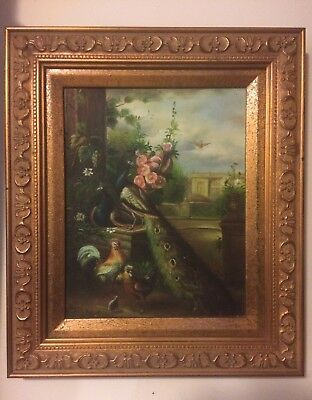 Old Master English antique oil painting on board,portrait of Birds19th C Signed