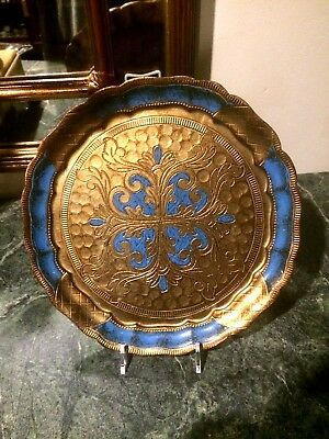 Florentine  Toleware  Round gold & Blue Tray / Platter Gilt Wood Tole Italy Made