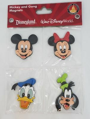 Disney Parks Mickey fab 4 Magnets Minnie Mouse Donald Duck Goofy PVC - NEW