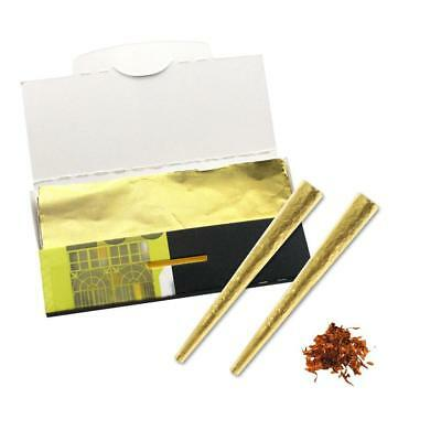 24k Gold Cone Rolled Papers  Cigarette Paper Smoking Herb Tobacco Rolling Papers