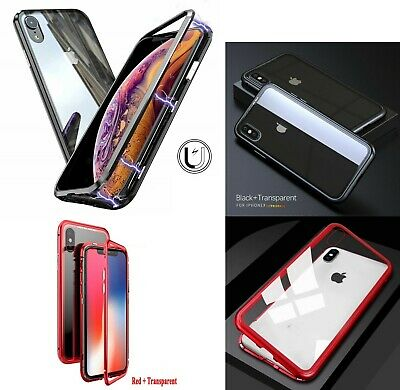 iPhone XR XS MAX 360° Magnetic Adsorption back Tempered Glass Phone Case Cover