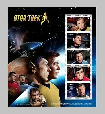 Canada Stamps - Mini Sheet of 5 - 2016, Star Trek Captains #2912 - MNH