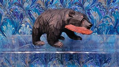 Antique Hand Carved Wood Bear Catching Fish  Folk Art Toy Great condition