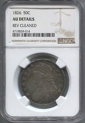 1826 50¢ capped Bust Half NGC AU Details Cleaned