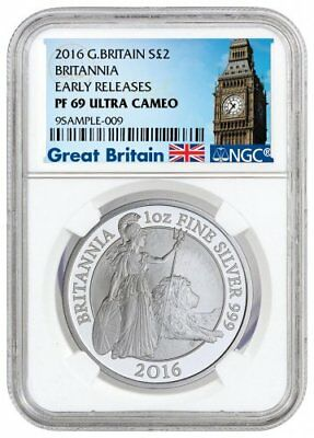 2016 Great Britain UK Britannia Proof Silver 2 Pound NGC PF69 (Box & COA)