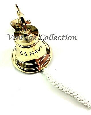 Nautical Hanging Home Door Bell Maritime Brass Ship Bell Wall Mounted Bracket