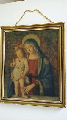 VINTAGE RELIGIOUS Picture Virgin MARY with Jesus FRAMED.