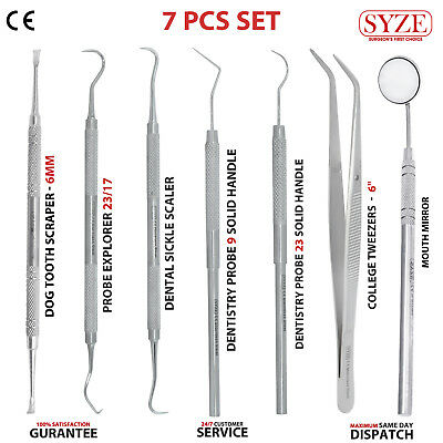 Set Of 7 Dental Scalers & Probes Tooth Scraper Hygienist Examination Basic Kits