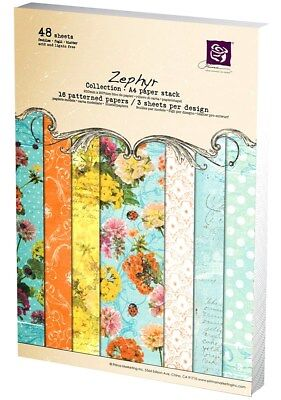 PRIMA A4 Patterned Paper Pad 48 Sheets! ZEPHYR Scrapbooking Card Making RARE