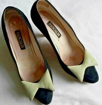 Vintage Pancaldi Italy Suede Leather Women's Heels  80's Size 40 1/2