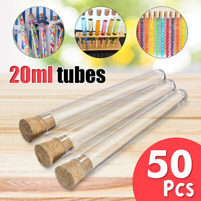 50/100PCS 20ml Plastic Test Tubes With Cork Stopper Volume Candy Party Wedding