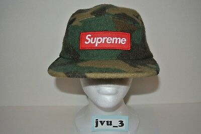 672fcf24977 NEW SUPREME FW17 CAMO WOOL CAMP CAP GREEN box logo hat comme nas woodland  cdg