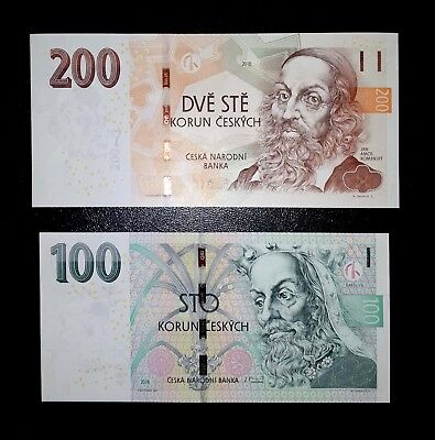 Czech republic Lot of 200 and 100 korun 2018 - Revised Wide Security P NEW UNC