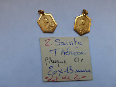 lot de 2 ancienne superbe medaille Sainte Therese plaqué OR poincon medals
