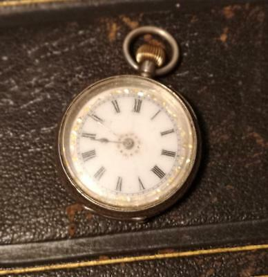 Antique sterling silver fob watch, ladies, top wind, working