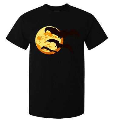Halloween Moon With Bats Scary Artwork men's (woman's available) t shirt black