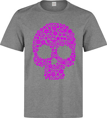 0c25c6524 Pink Flowered Skull Art men's (woman's available) grey t shirt top quality  dope