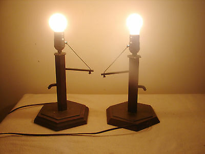 2 Copper Water Well Hand Pump Table Lamps