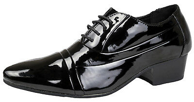 Mens Mh Black Patent Smart Office Wedding Lace Up Cuban Heel Shoes,6-11 5422
