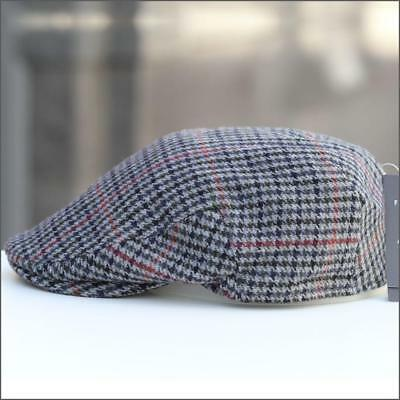 Norwich Flat Cap in Grey Houndstooth Check (114) Wool by Failsworth 1903