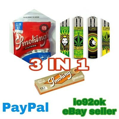 ✓ CARTINE PICCOLE + FILTRI SLIM + accendino Clipper special marijuana friendly