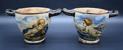 Pair of two-handled antique Italian decorated pots