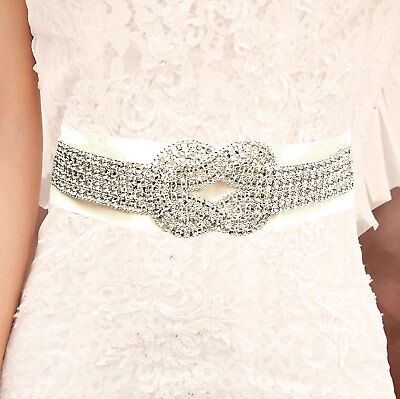 "Bridal Belt Wedding Sash ""Loveknot"" Diamante Rhinestone Crystal Applique Satin"