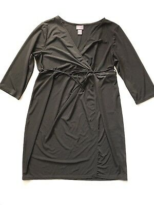 22a82e637 OH BABY MOTHERHOOD Maternity Dress Womens Size Large Black Solid 3 4 ...