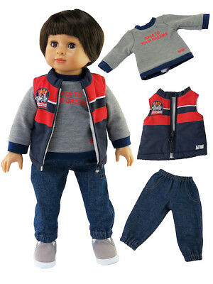 Doll Clothes 3 PC Race Vest Pants Set For 18 Inch American Girl or Boy