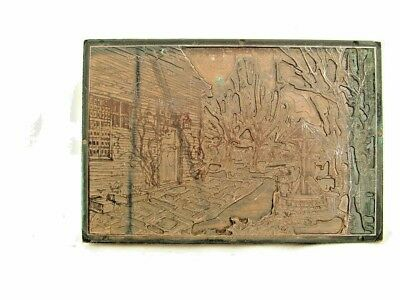 Vintage etched copper printing block Chalet house trees and wishing well