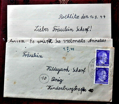 1944 WW2 REAL GERMAN 3rd REICH ERA  COVER WITH LETTER NICE FELDPOST