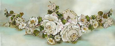 Gorgeous  Shabby Chic Victorian White Roses Mini Yard Long Giclee Canvas Print