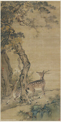 Chinese old painting Animal Double deers under old cypress tree by Shen Quan