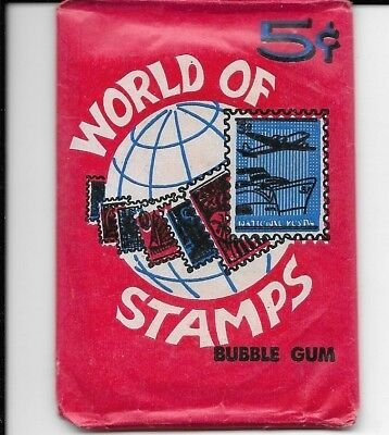 1965 Vintage World of Stamps Unopened Wax Pack Trading Cards Donruss